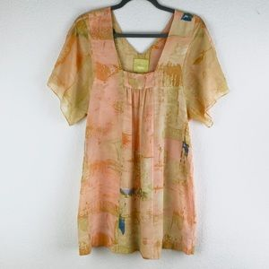 Anthropologie Maeve Silky Printed Watercolor Tunic